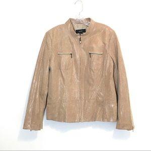 Alfani Snake Embossed Leather Zip Up Jacket XL